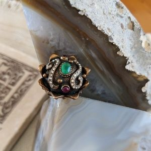 Ottoman ring copper with gemstones